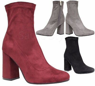 0fa31530589 Ladies Womens Mid High Block Heels Casual Chelsea Ankle Zip Boots Shoes  Size 3-8