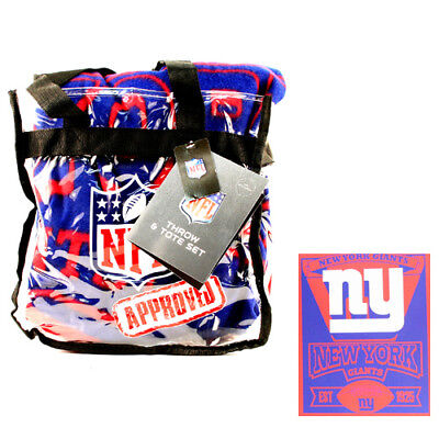 New York Giants Fleece Throw Blanket with NFL Approved Clear Tote Bag