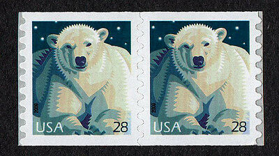 United States, Scott #4389, Pair Coil Stamps Of Polar Bear, Mint Never Hinged