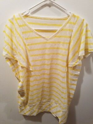 Nursing Top - White and yellow - Size Large