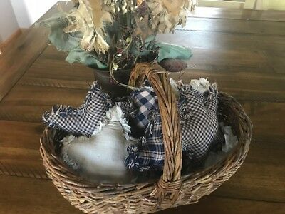 New Homespun Plaid Ornies Bowl Fillers PrImITive Stars Navy Blue Tan 6 Farmhouse