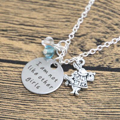 Alice In Wonderland I Am Not Like Other Girls Charms Necklace Gift Bag Or Box