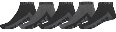 Globe Mens Socks - 5 Pairs - Black / Grey - Ankle Sock