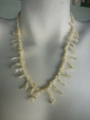 """Vintage Natural White Branch Coral & Bead Necklace 20"""" 30 grams"""