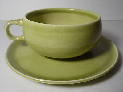Antique Vtg 1939 Russel Wright Steubenville Chartreuse Green Cup & Saucer Set