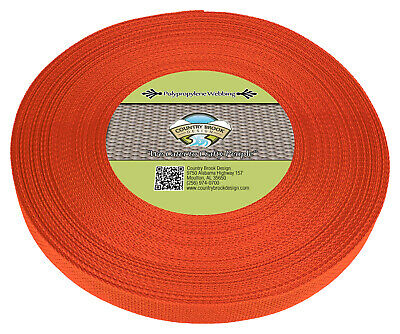 Country Brook Design® 1 Inch Orange Polypro Webbing, 25 Yards