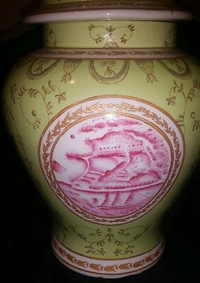 Amazing Tozai Green & White Large Hand Painted Chinese Temple Jar