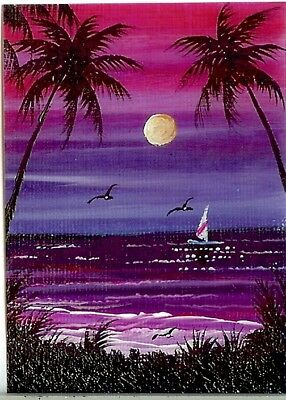 ACEO GLOSSY PRINT Sunset Tropical Palm Trees Boat Miniature Sea Art Print HYMES