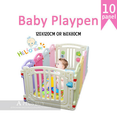 1.6mx0.8m New Kids Baby Toddler Safety Gate Colourful Playpen Rectangle 10 panel