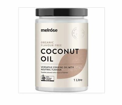 2 x 1L MELROSE Certified Organic Flavour Free Coconut Oil ( total 2L )