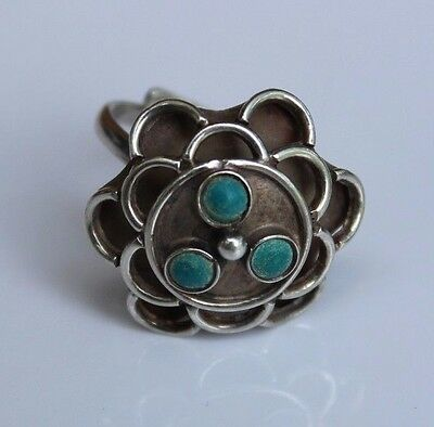 Vintage Mexico Sterling Silver & Green Turquoise Dome Openwork Adjustable Ring