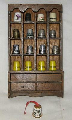 Lot Of 17 Vintage Assorted Thimbles & Thimble Wood Hutch Display Case