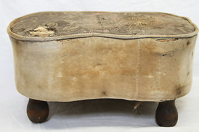 """8"""" Antique Vintage Fabric Foot Stool Early 20Th Century Wood Feet"""