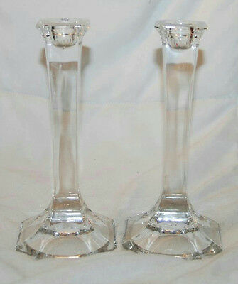 "Pair Of Crystal Glass 7"" Candle Stick Holders"