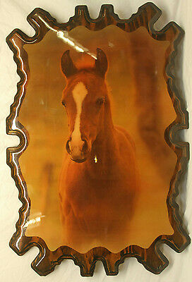 "35.5"" Vintage Wood Decoupage Horse Decorative Wall Hanging Western Decor"