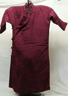 Vintage Padded Maroon Childs Petite Robe Dress Cheongsam Silk Embroidered Small