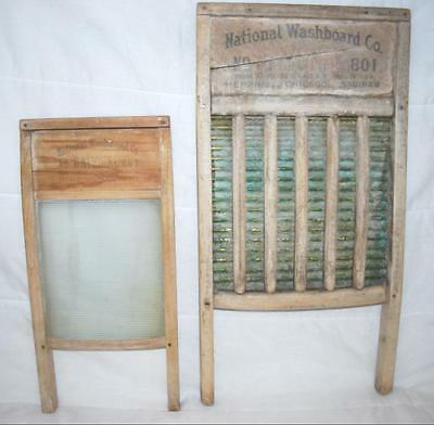 National Washboard Co. Lot Of 2 Large Brass King & Glass King Lingerie Boards