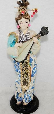 """Vintage 10"""" Fabric Geisha Doll, Souvenir From Japan, Real Hair With Lute"""