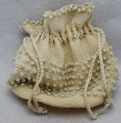 Vintage Crochet Drawstring Ivory Colored Purse With Bead Made By Grace A. Boyer