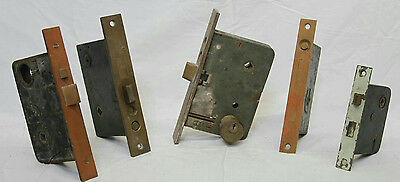 Antique Architectural Salvage Lot Of 5 Brass Door Locks