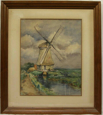 "24.5""X21"" Framed Windmill Watercolor Landscape Painting Original Unsigned"