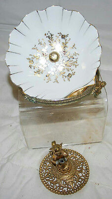 "6"" Vintage Porcelain Shell Shape Dish W/Cherub Stand & Soap Stand Base For Parts"