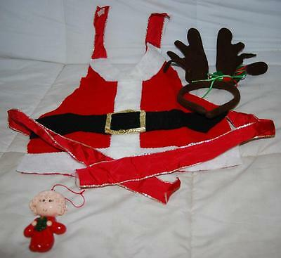"""Santa Claus Dog Costume, Reindeer Head Band & 4"""" Polymer Clay Holiday Ornament"""