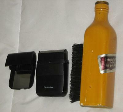 "7"" Vintage Bottle Shoe Shine Brush Lego Japan & 3"" Panasonic Shaver"