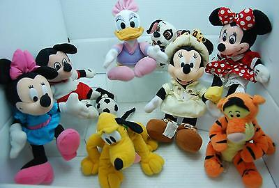 "Lot Of 8 Walt Disney 9"" Soft Plush Toy Dolls Assorted Minnie & Mickey Friends"