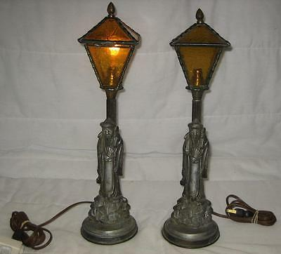 Lot Of 2 Vintage Leviton Cast Iron & Green Glass Lamp Shade Asian Table Lamps