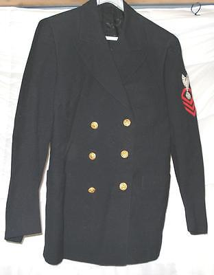 Vintage Wwii Us Navy Officers Dress Coat W/gold Tone Buttons & Arm Patch