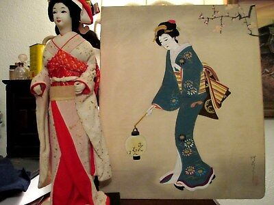Antique Japanese Geisha Japanese Woman Painting on Silk Signed Stamped Unframed