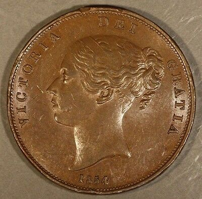 1854 Great Britain Penny Strong Details Rim Nicks      ** Free U.S. Shipping **