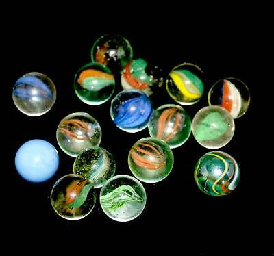 """Vintage set of 16 large glass shooter marbles approx 1"""""""