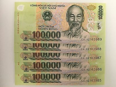 5 Consecutive Uncirculated Vietnamese 100,000 Dong (5 x 100,000) Currency Notes