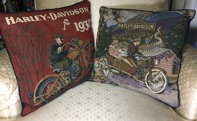 Antique Pair Of Vintage Harley Davidson Motors American Tapestry Pillows 1930s
