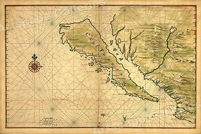 1650 Map of California shown as an Island! Unusual Error Map - 16x24