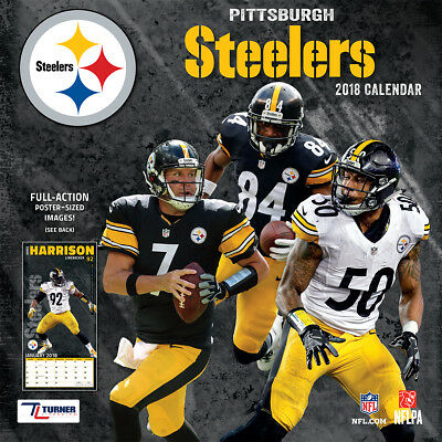 NFL Pittsburgh Steelers 2018 Wall Calendar Poster Size Full-Action Color Photos