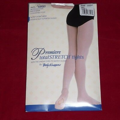 NEW L Premiere Total Stretch Convertible Foot Ladies Tights Backseam NYLON LARGE