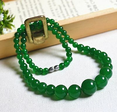 """New 6-14mm Natural Green Jade Round Beads Necklace 17"""""""