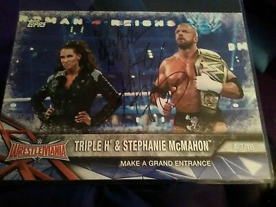 Triple H & Stephanie McMahon Signed WWE 2017 Actual Topps 10X14 Photo Card 1/99