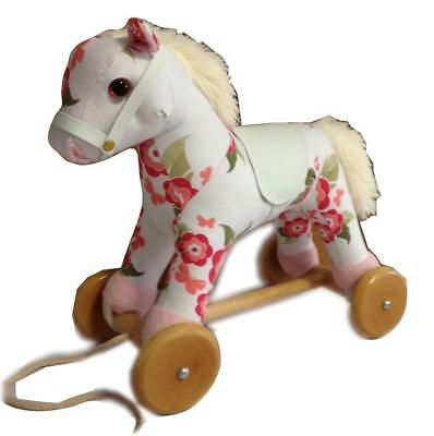 NEW Childrens Wood & Plush Pull Along Floral Pony Horse - Baby Pull Toy w/ Sound