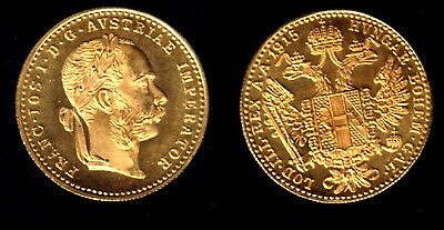 Stunning Absolutely Prooflike Gem Bu Austria 1915 Gold Ducat-Ideal Bullion Coin-