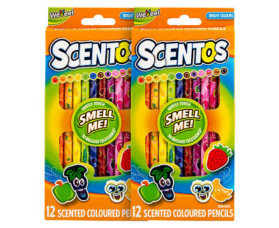 2 x Scentos 12-Pack Scented Coloured Pencils