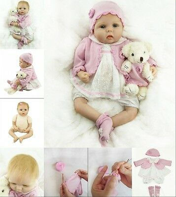 "Handmade 22"" Newborn Baby Soft Silicone Real Life Girl Lovely Reborn Baby Dolls"