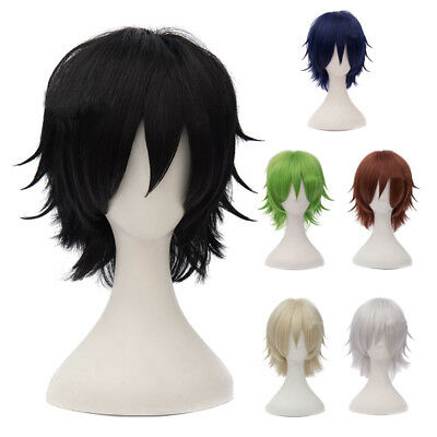 SS 30cm Heat Resistant Layered Short Basic Anime Cosplay Wig Color:Black
