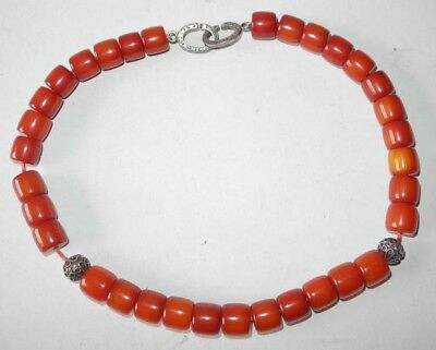 Amber Tested Bakelite Necklace With Silver Clasp And 2 Beads