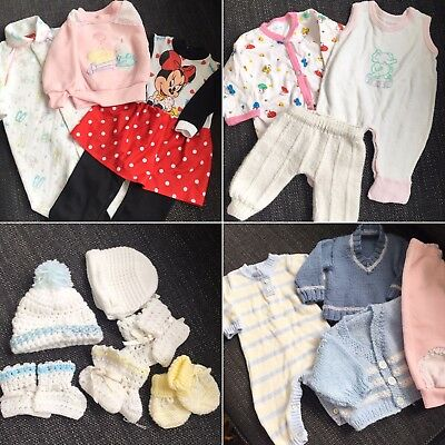 Vintage Retro Girls Boys Childrens Baby Clothing Lot Newborn 0-3 Months resale