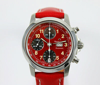 Maurice Lacroix Automatik Chronograph in Stahl rotes Ziffernblatt!