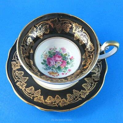 Black and Gold Design Border with Floral Center Foley Tea Cup and Saucer Set